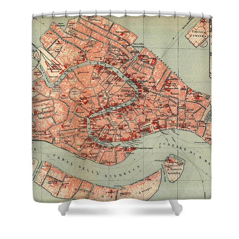 Venice Shower Curtain Featuring The Drawing Vintage Map Of Italy