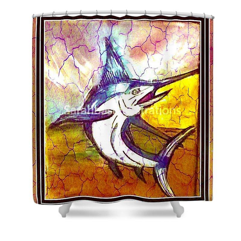 Marlin Shower Curtain featuring the mixed media Vintage Marlin by Sarah Gleason
