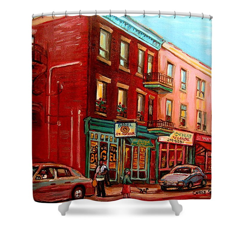 St Viateur Bagel Shop Montreal Street Scenes Shower Curtain featuring the painting Vintage Montreal by Carole Spandau