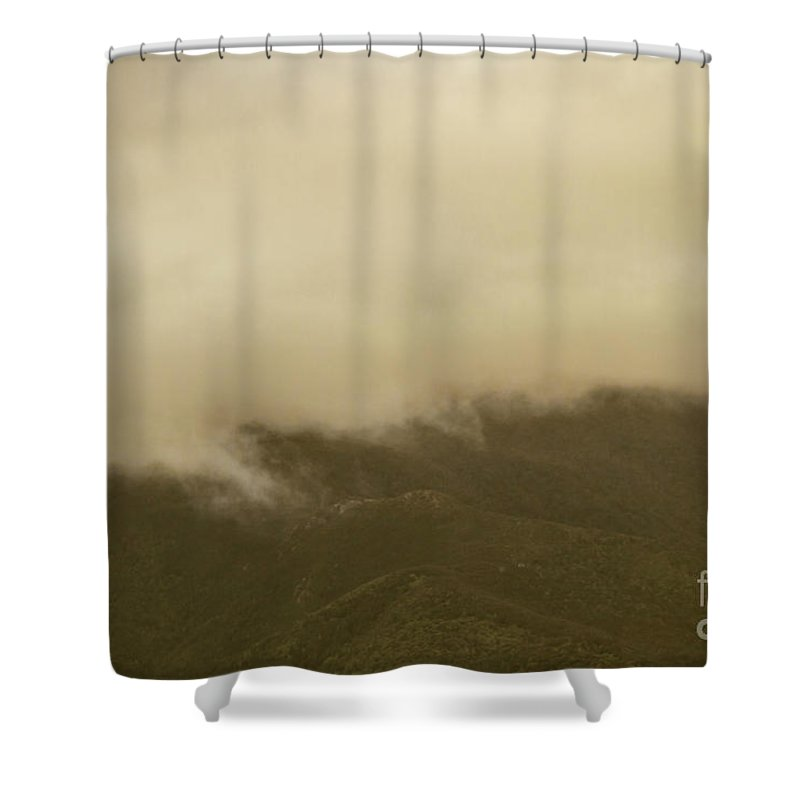 Old Fashioned Shower Curtain Featuring The Photograph Vintage Mountains Covered By Cloud Jorgo Photography