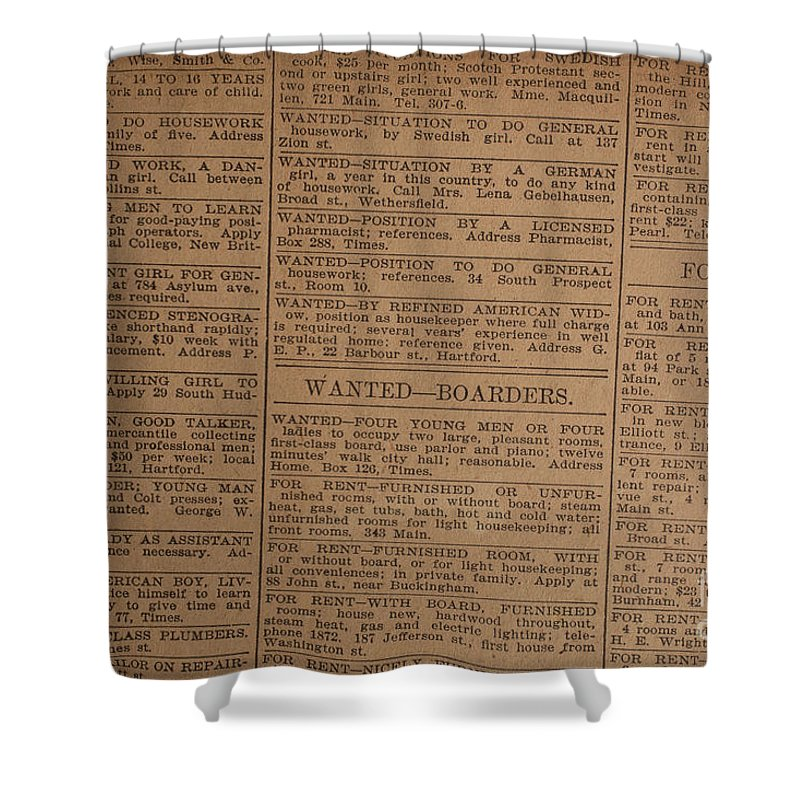 Vintage Old Classified Newspaper Ads Shower Curtain For Sale By