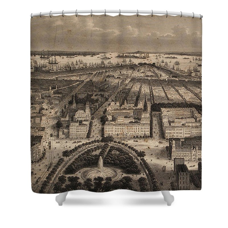 Map Of New York For Sale.Vintage Pictorial Map Of New York City 1840 Shower Curtain