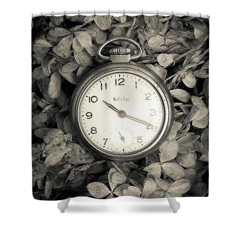 Still Life Shower Curtain featuring the photograph Vintage Pocket Watch Over Flowers by Edward Fielding