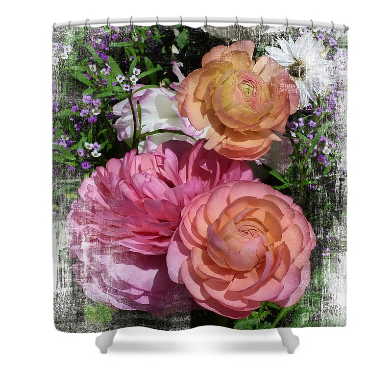 Vintage Ranunculus Shower Curtain featuring the digital art Vintage Ranunculus by Trudee Hunter