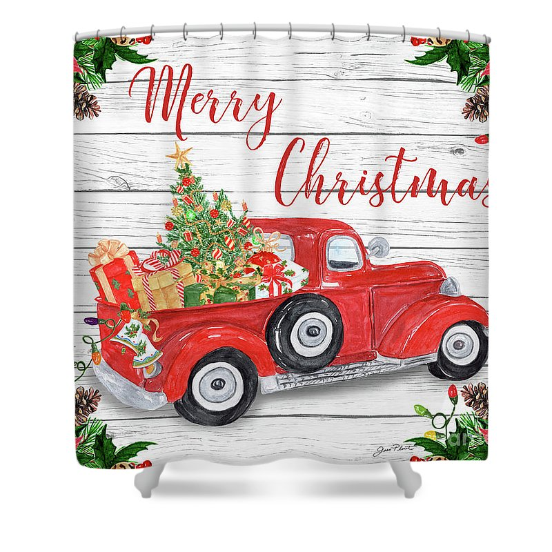 Christmas Shower Curtain Red American Truck Print for Bathroom