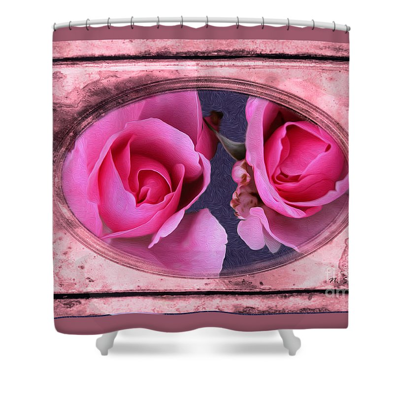 Vintage Shower Curtain featuring the photograph Vintage Rose Bud Plate Frame Painting by Nina Silver