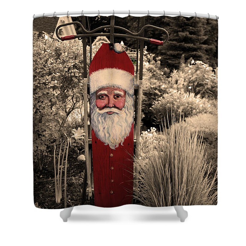Folk Art Santa Shower Curtain featuring the photograph Vintage Santa by Joanne Coyle
