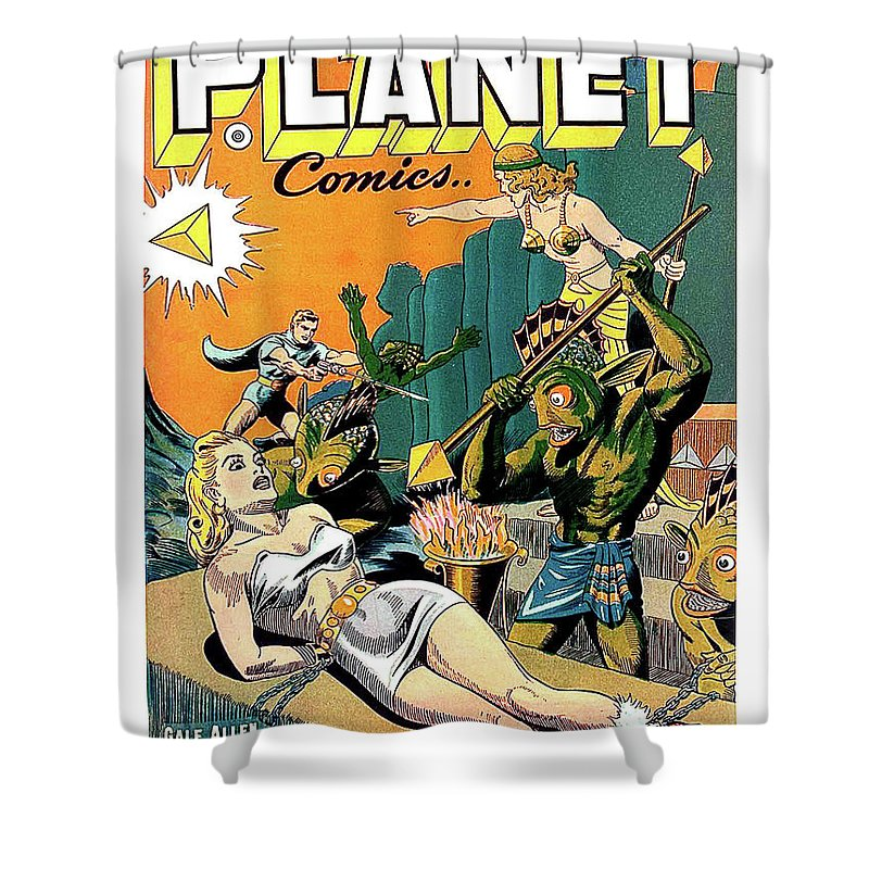 Vintage Shower Curtain Featuring The Painting Sci Fi Cover For A Comic Book By
