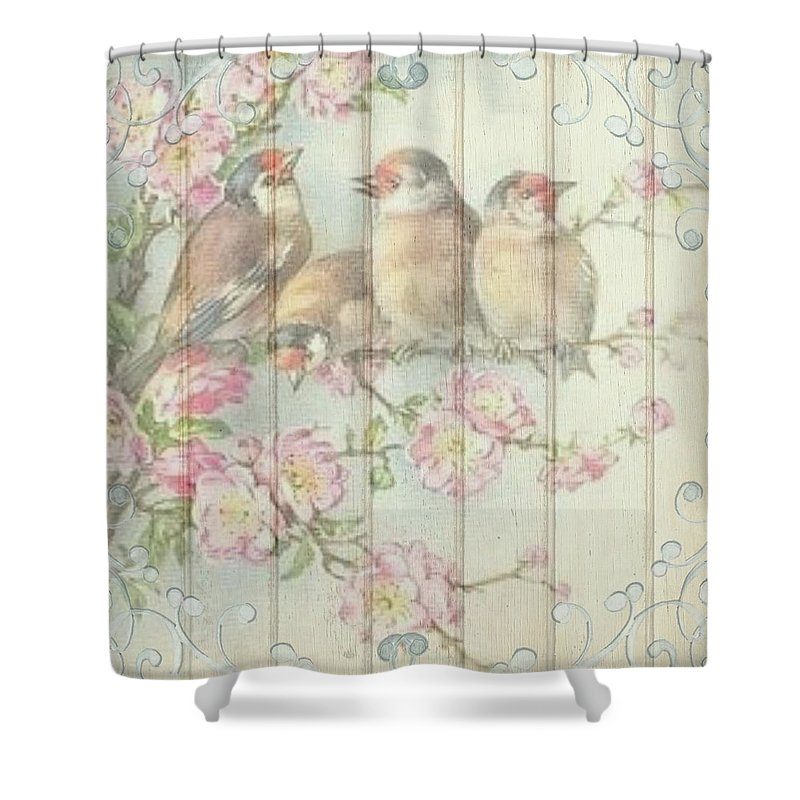 Birds Shower Curtain Featuring The Painting Vintage Shabby Chic Floral Faded Design By Joy Of