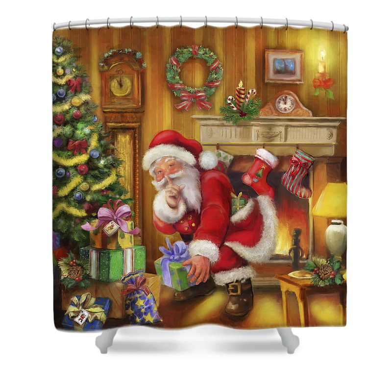 Santa Shower Curtain Featuring The Painting Vintage Style Claus At Fireplace By Patrick Hoenderkamp