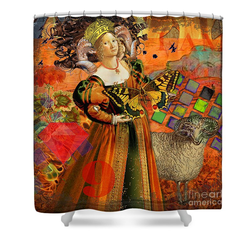 Doodlefly Shower Curtain featuring the digital art Vintage Taurus Gothic Whimsical Collage Woman Fantasy by Mary Hubley