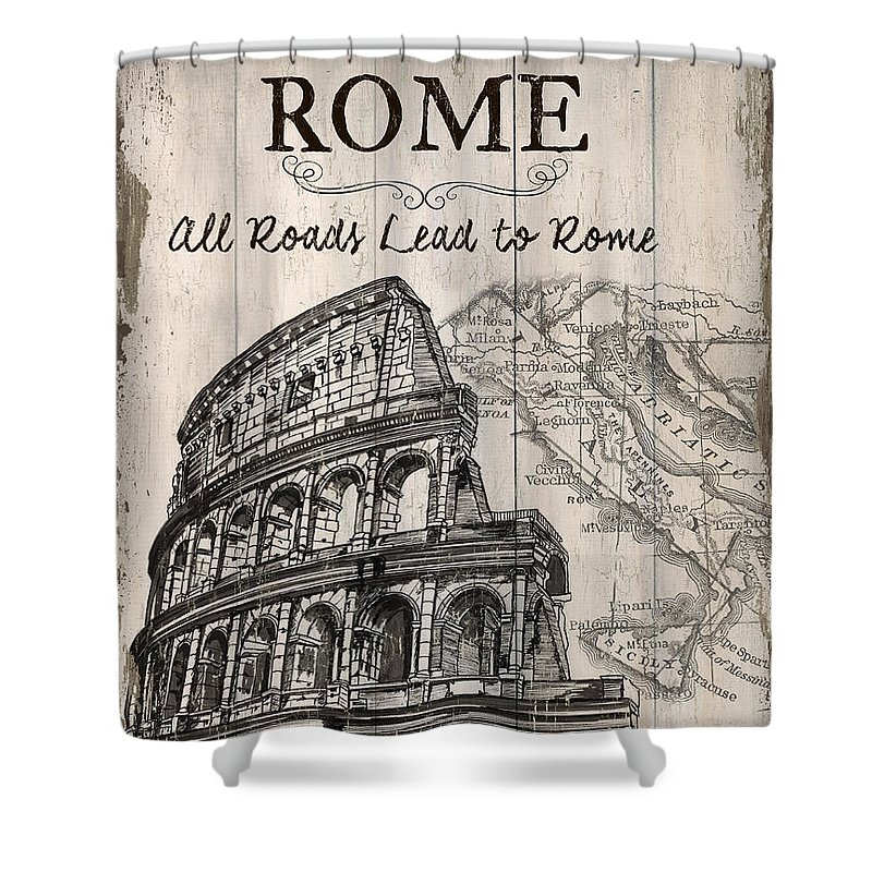 Rome Shower Curtain featuring the painting Vintage Travel Poster by Debbie DeWitt