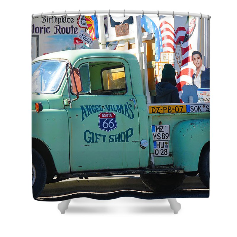 Gift Shop Shower Curtain featuring the photograph Vintage Truck with Elvis on Historic Route 66 by Victoria Oldham
