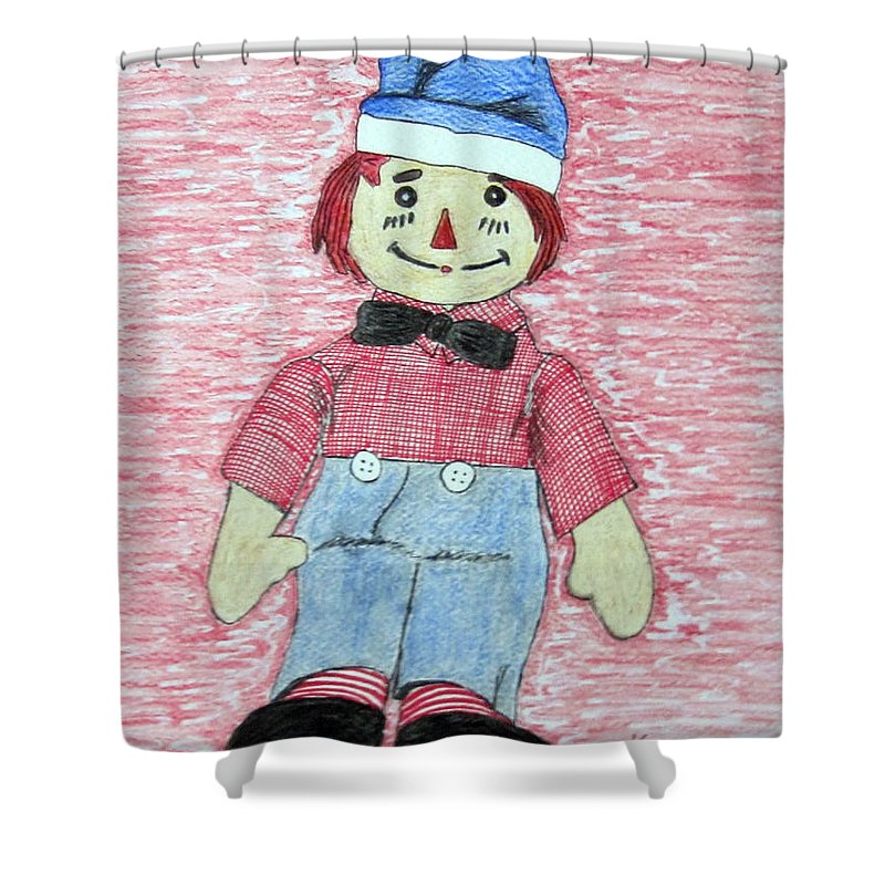 Vintage Shower Curtain featuring the painting Vintage Volland Raggedy Andy Cloth Doll by Kathy Marrs Chandler
