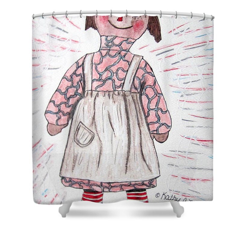 Vintage Shower Curtain featuring the painting Vintage Volland Raggedy Ann Cloth Doll by Kathy Marrs Chandler