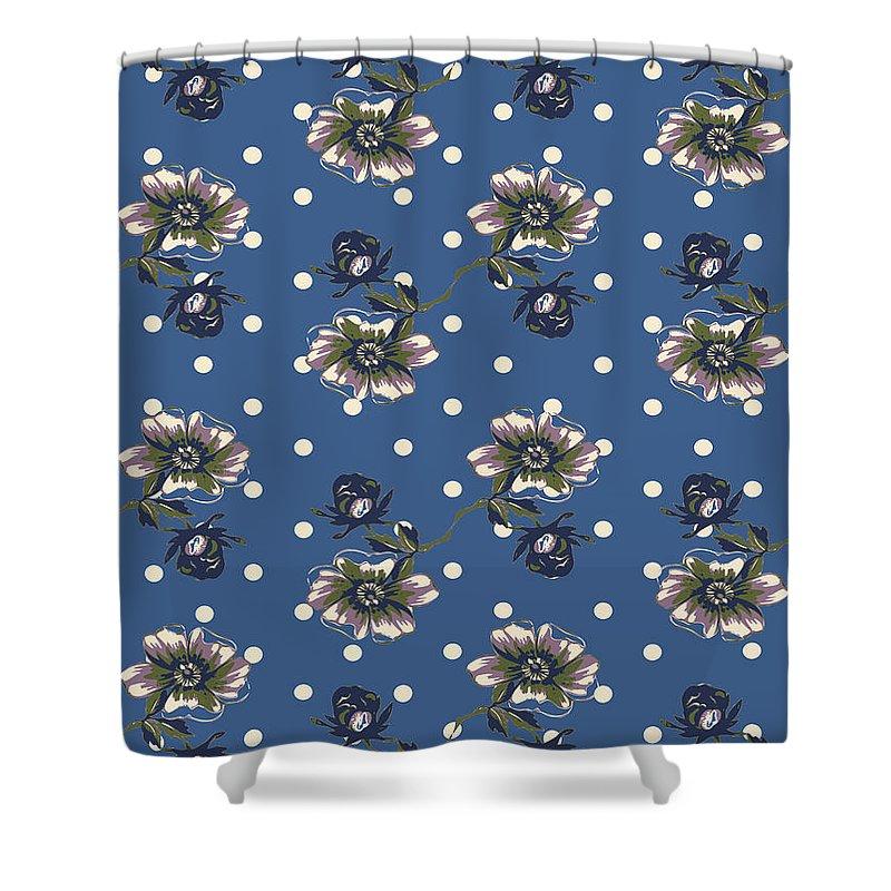 Flower Shower Curtain featuring the digital art Vintage Wallpaper Seamless Rose Flower Pattern On Circles Polka by Svetlana Corghencea