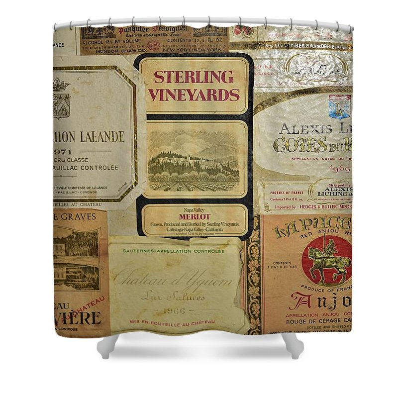 Linda Brody Shower Curtain featuring the photograph Vintage Wine Labels 10 by Linda Brody
