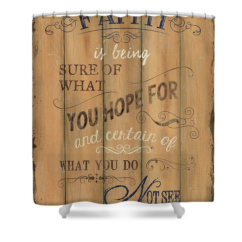 Hope Shower Curtain Featuring The Painting Vintage Wtlb Faith By Debbie DeWitt