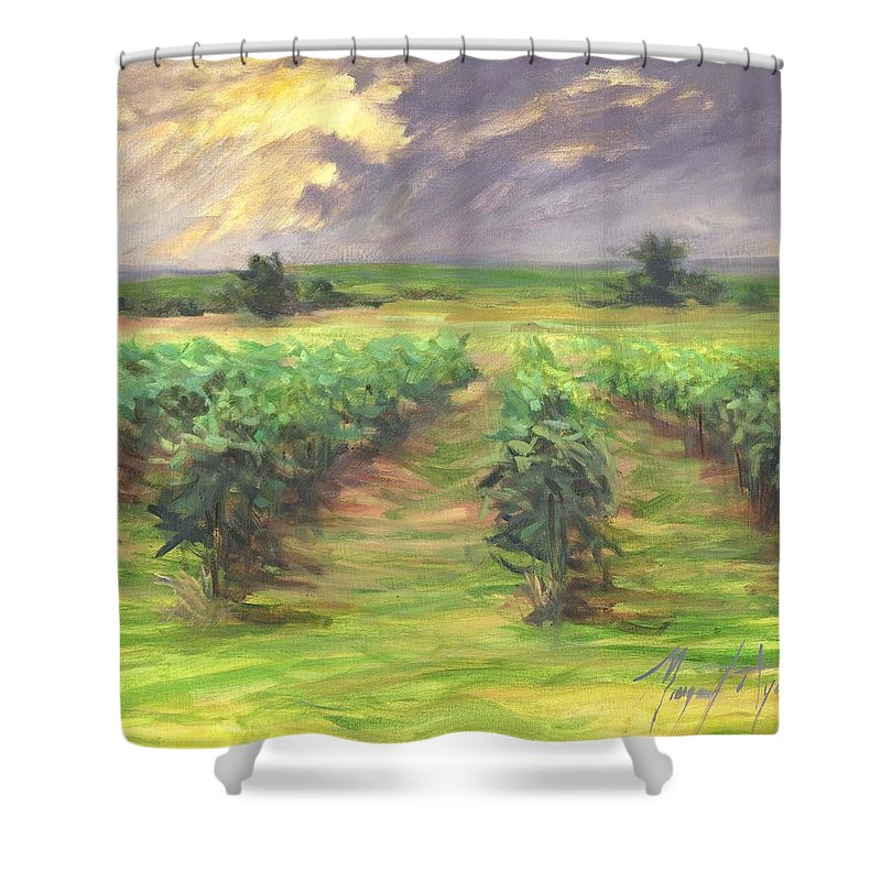 Vinyard Shower Curtain featuring the painting Vinyard by Margaret Aycock