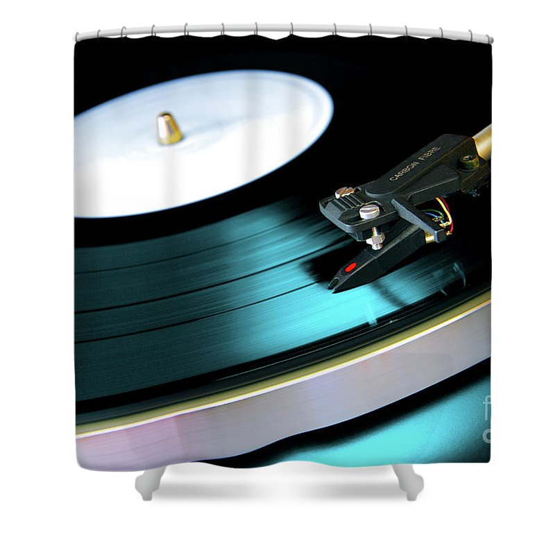 Abstract Shower Curtain featuring the photograph Vinyl Record by Carlos Caetano