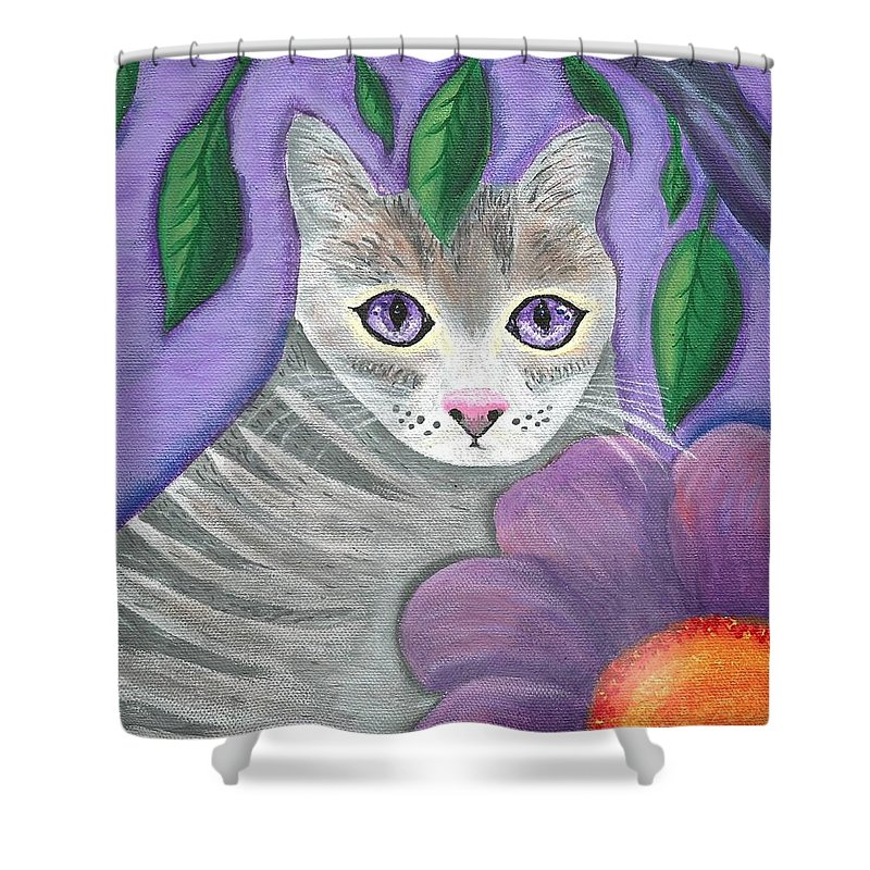 Violet Purple Lavender Eyes Kitty Cat Flower Floral Tabby Grey Shower Curtain featuring the painting Violet Eyed Cat by Monica Resinger