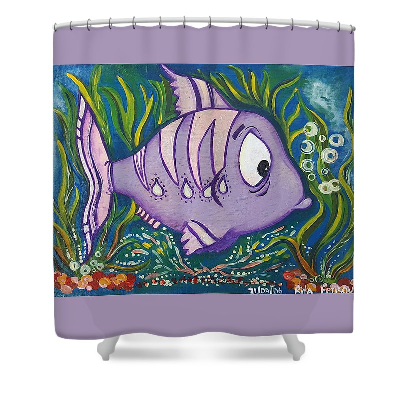 Fish Shower Curtain featuring the painting Violet Fish by Rita Fetisov