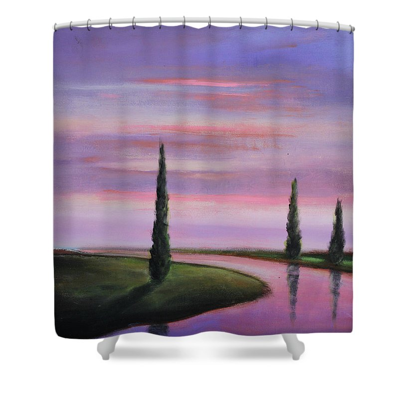 Purple Shower Curtain featuring the painting Violet Sky by Toni Grote
