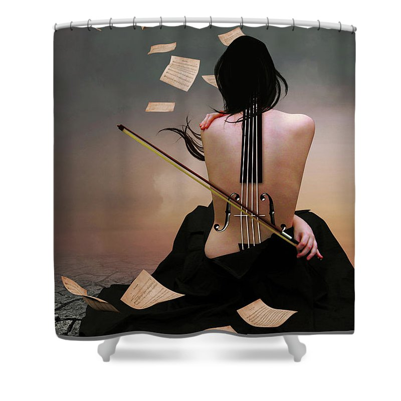 Surreal Shower Curtain featuring the digital art Violin Woman by Mihaela Pater