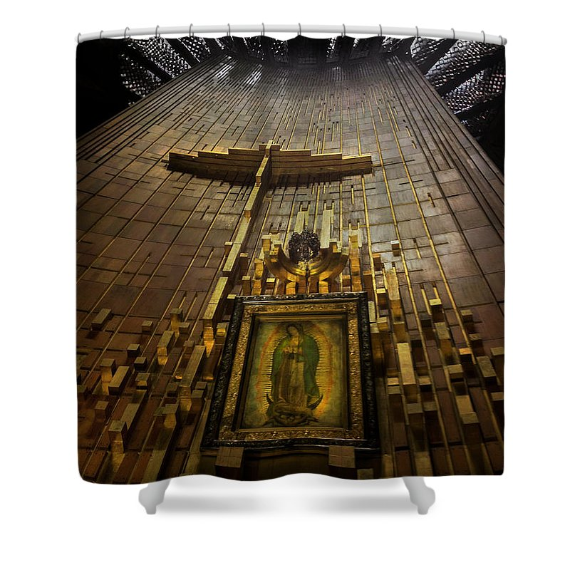Basilica De Guadalupe Shower Curtain featuring the photograph Virgen De Guadalupe 9 by Totto Ponce