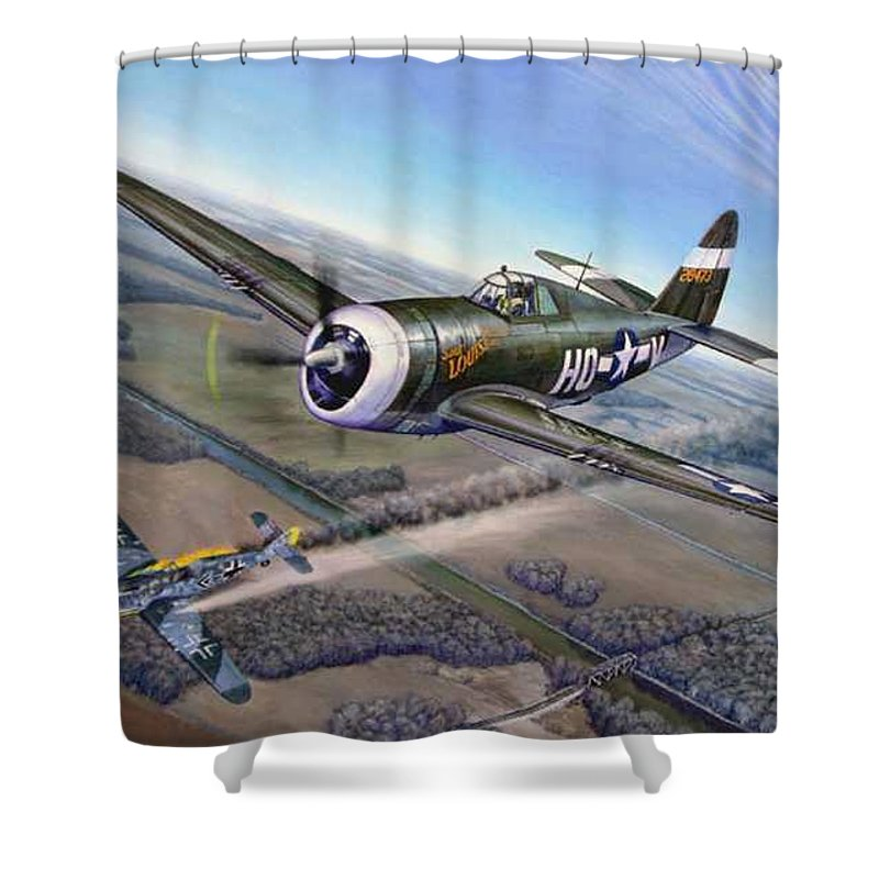 The 352nd Fighter Groups First Ace Shoots Down The German Ace Klaus Mietush On March 8th 1944 Shower Curtain featuring the painting Virgil Meroney Downs Klaus Mietush by Scott Robertson