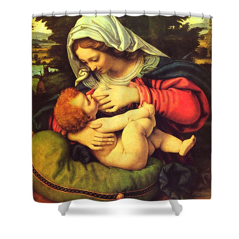 Virgin Shower Curtain Featuring The Painting Mary Breastfeeding Jesus By Magdalena Walulik