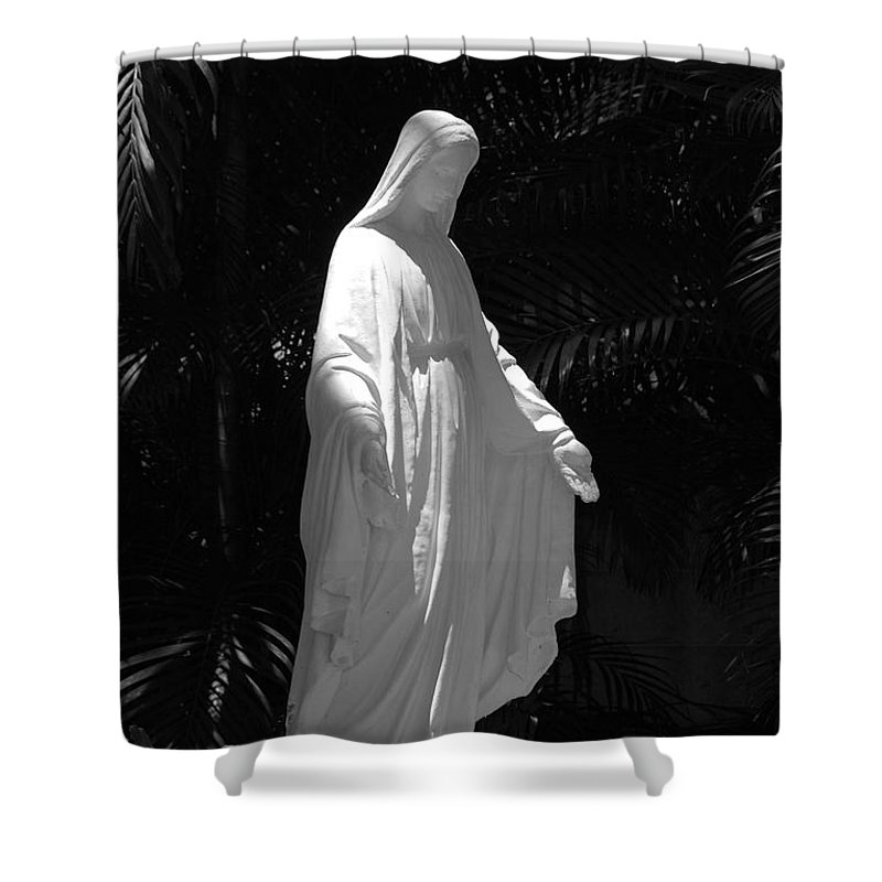 Black And White Shower Curtain featuring the photograph Virgin Mary In Black And White by Rob Hans