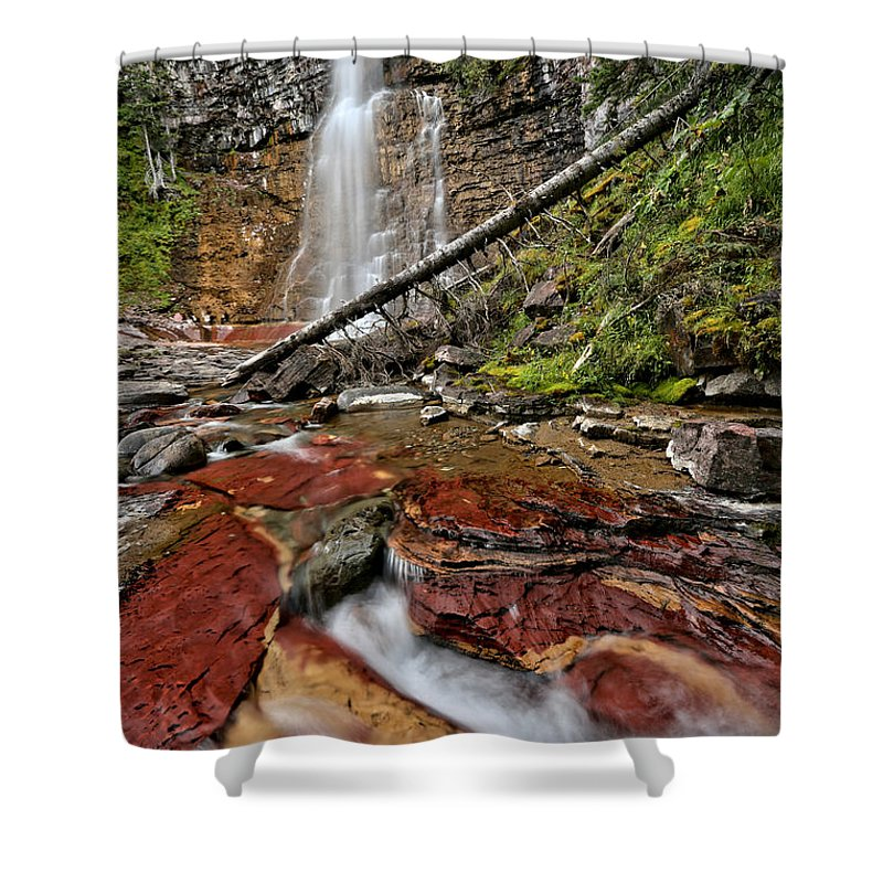 St Mary Falls Shower Curtain featuring the photograph Virginia Falls Closeup by Adam Jewell