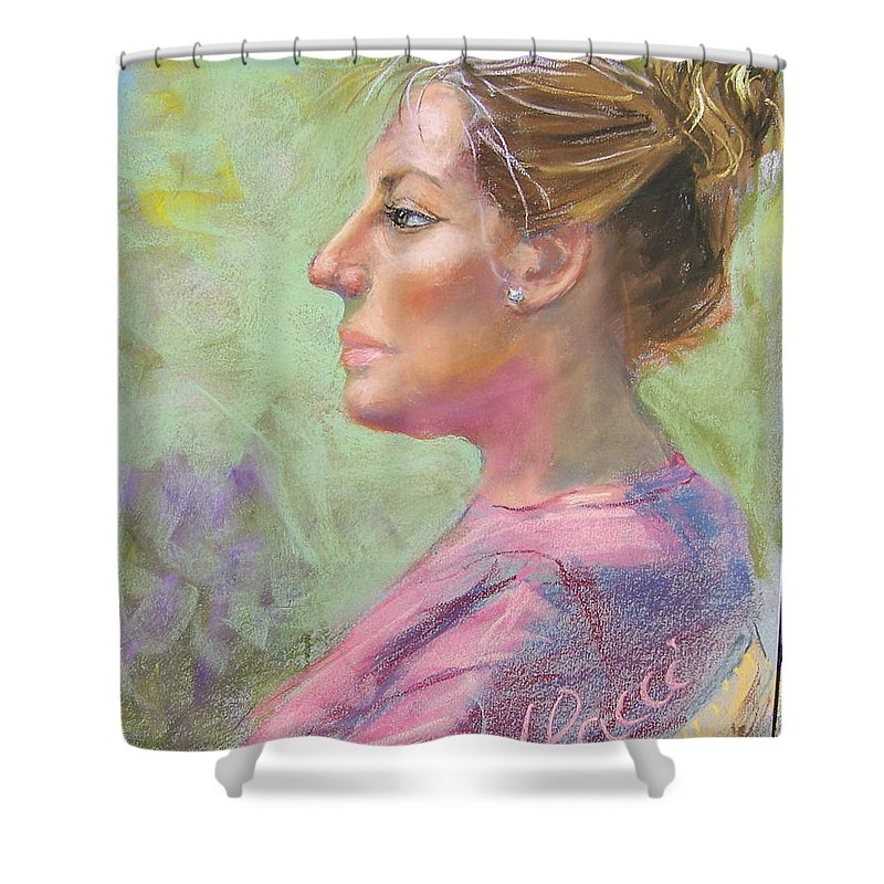Portrait Shower Curtain featuring the painting Virginia by Laurie Paci
