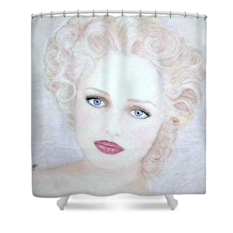 Face Shower Curtain featuring the drawing Virginia by Scarlett Royal