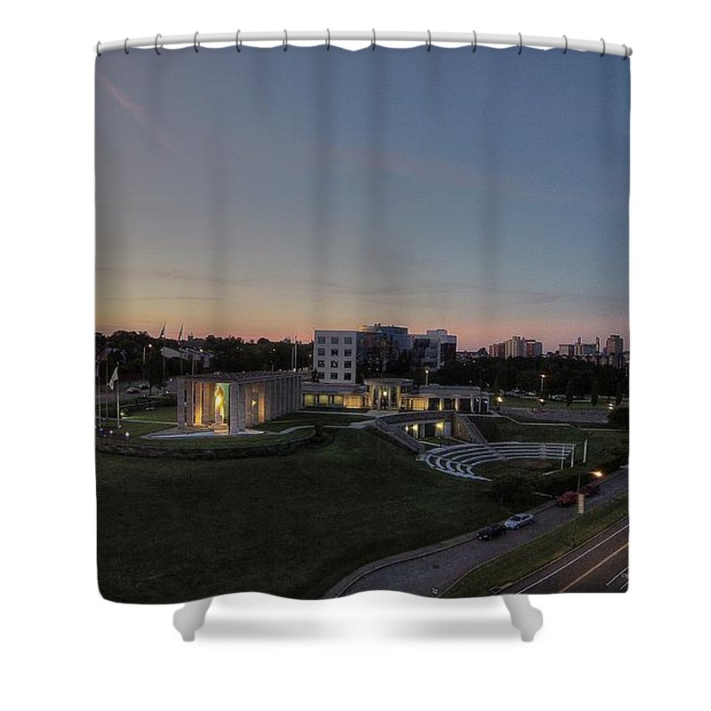 Richmond Shower Curtain featuring the photograph Virginia War Memorial - 2nd Street by Tredegar DroneWorks
