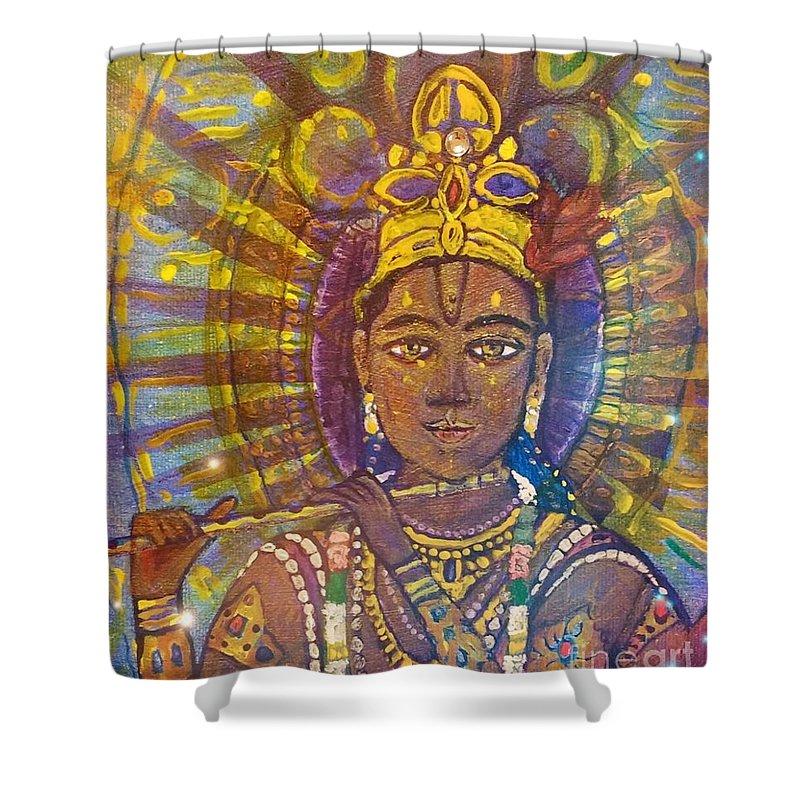 Vishnu Shower Curtain featuring the painting Vishnu Krishna Face by Michael African Visions