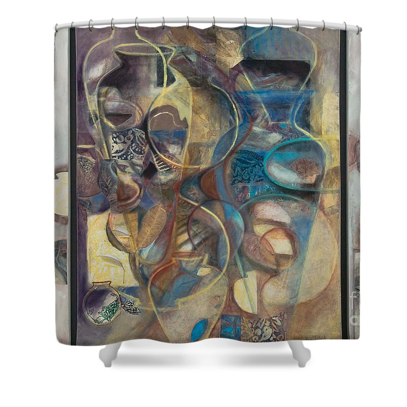 Vessels Shower Curtain featuring the painting Visible Traces by Kerryn Madsen-Pietsch