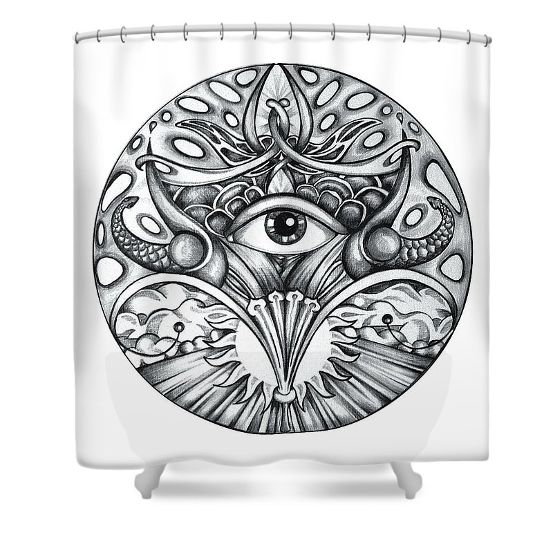 Eye Shower Curtain featuring the drawing Vision by Shadia Derbyshire