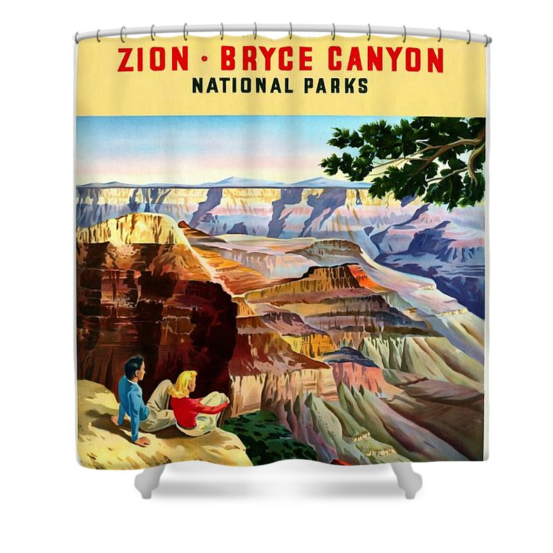 Grand Canyon Vintage Posters Shower Curtain featuring the mixed media Visit Grand Canyon - Restored by Vintage Advertising Posters