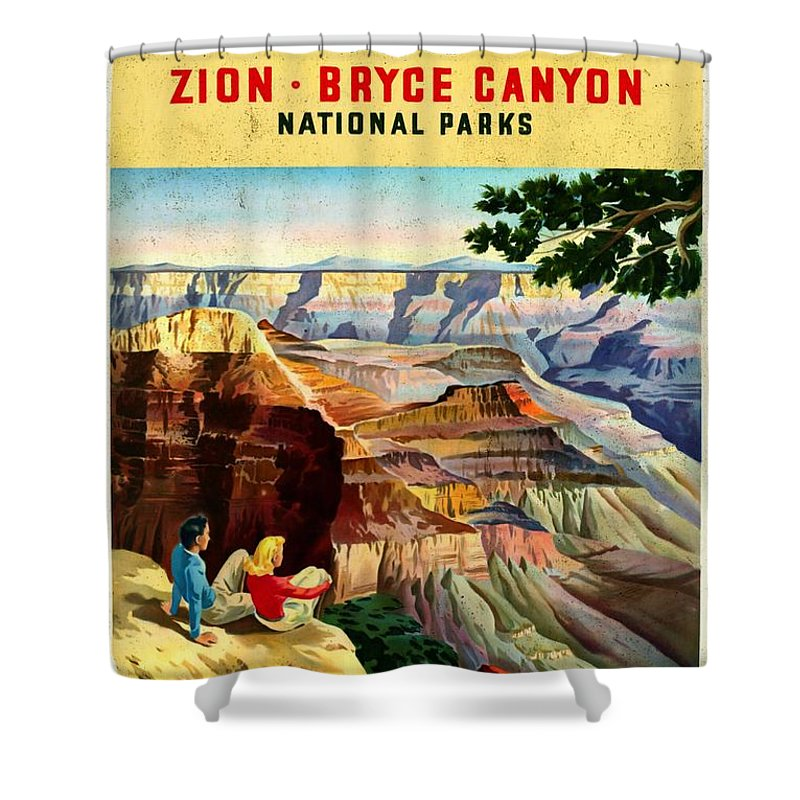 Grand Canyon Vintage Posters Shower Curtain featuring the mixed media Visit Grand Canyon - Vintgelized by Vintage Advertising Posters