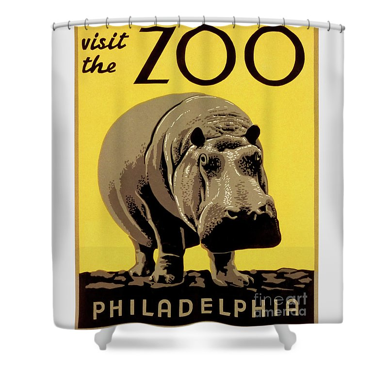 Vintage Shower Curtain featuring the drawing Visit The Zoo Philadelphia by Aapshop