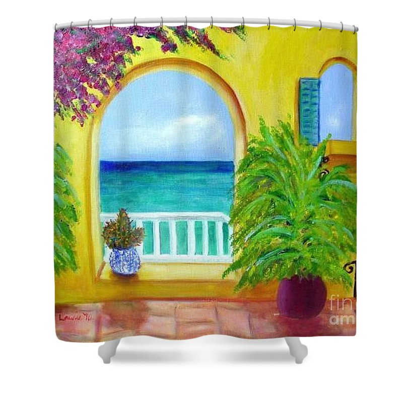 Patio Shower Curtain featuring the painting Vista Del Agua by Laurie Morgan