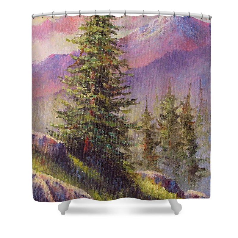Mountain Shower Curtain featuring the painting Vista View by David G Paul