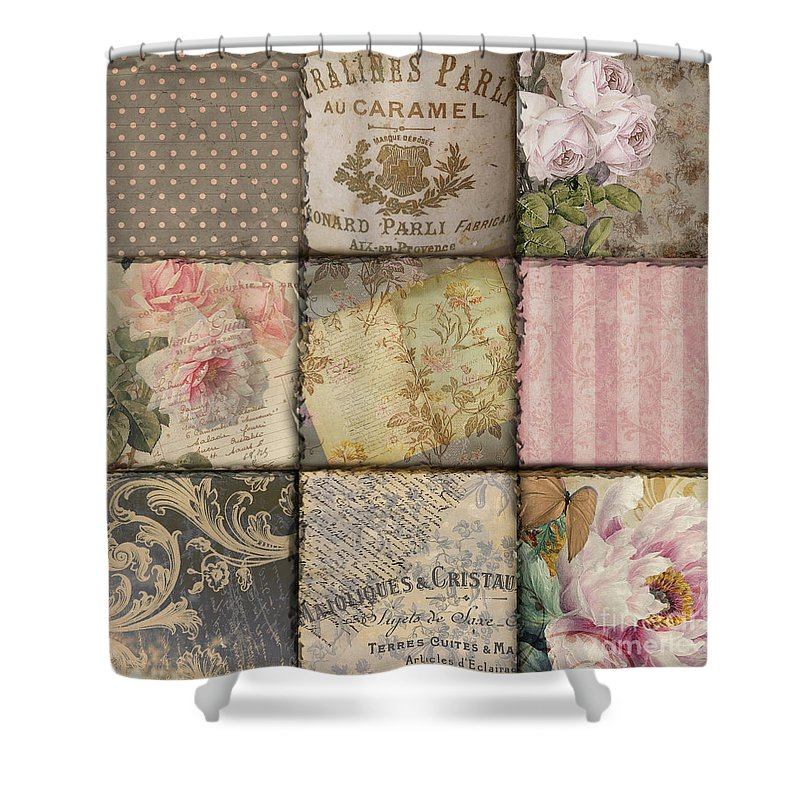 Vintage Patchwork Shower Curtain Featuring The Painting Viva La France II By Mindy Sommers