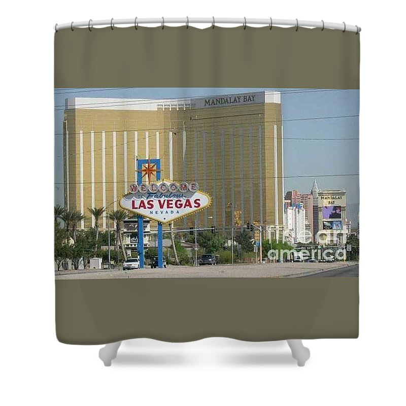 Vegas Shower Curtain featuring the photograph Viva Las Vegas by Barb Montanye Meseroll