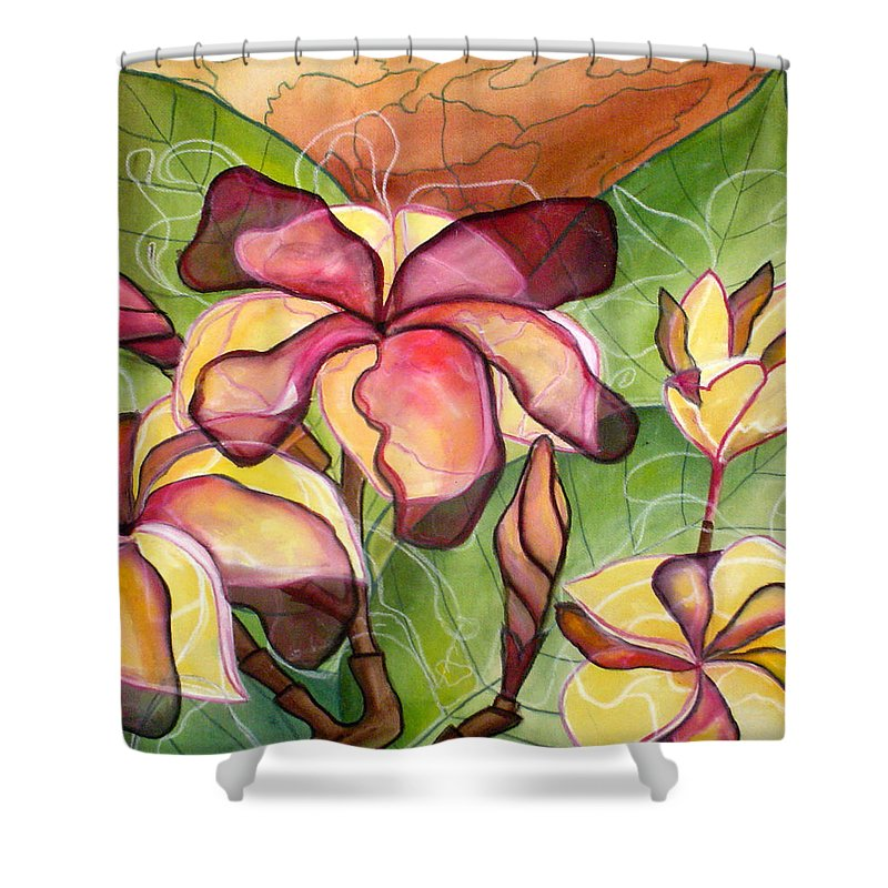 Plumeria Shower Curtain featuring the painting Vivian's Plumeria by Kimberly Kirk