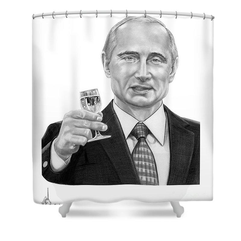 Pencil Shower Curtain featuring the drawing Vladimir Putin by Murphy Elliott