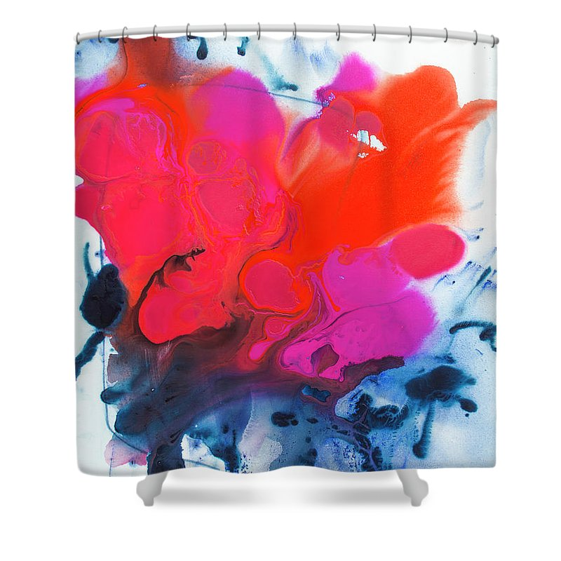 Abstract Shower Curtain featuring the painting Voice by Claire Desjardins
