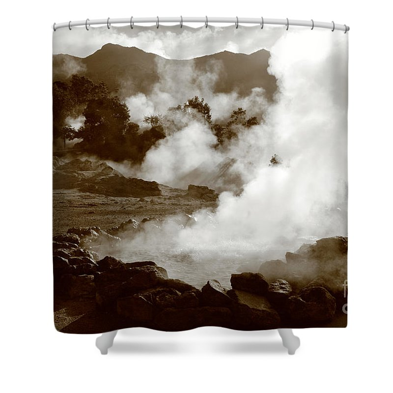 Azores Shower Curtain featuring the photograph Volcanic Steam by Gaspar Avila